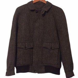 VTG Herringbone Harris Tweed Wool Bomber Jacket